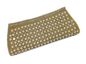 Pearls and diamond studded beaded Clutch in Gold and off white, perfect as a Bridal or evening out clutch.