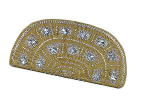 Large crystals embellished on a Gold base with rows of diamonds - make this a bold statement piece.