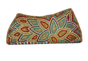Tarini Floral Multi colored clutch with sequins and diamonds.