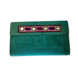 hand embroidered leather wallet