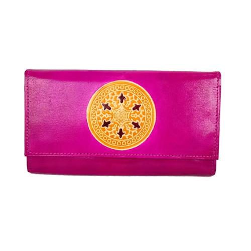 Leather Mandala wallet Pink