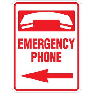 "Emergency Phone Left Arrow Sign - 18"" x 24"""
