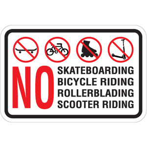 "No Skateboarding Sign 18"" x 12"" Aluminum"