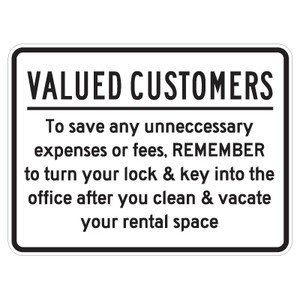 """Valued Customers Turn in Lock Sign - 18"""" x 24"""""""