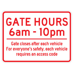 "Gate Hours Sign - 18"" x 24"""