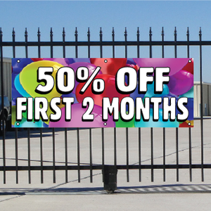 50 Percent Off First Two Months Banner - Balloons