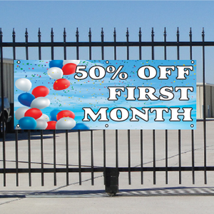 50 Percent Off First Month Banner - Balloons Sky