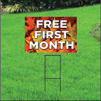Free First Month Sign For Self Storage Fall