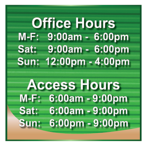 Office Hours Self Storage Sign