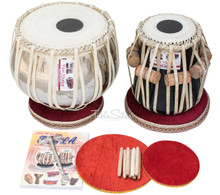 VHATKAR Chromed Tabla Drum Set, 4KG Brass Bayan, Shisham Dayan, Book, Hammer, Cushions - (BR-BBB)