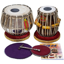 MUKTA DAS Chrome Tabla Drum Set, 4KG Copper Bayan, Finest Dayan, Book, Hammer, Cushions - (BR-AEB)