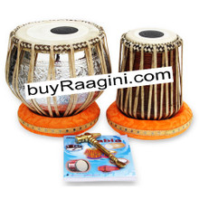 MUKTA DAS Floral Chrome Tabla Drum Set, 4KG Copper Bayan, Finest Dayan, Book, Hammer, Cushions & Bag - (BR-ADH)