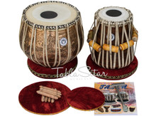 LALI & SONS Lord Shiva Designer Tabla Set, 4KG Copper Bayan, Sheesham Dayan, Book, Hammer, Cushions & Cover - (BR-CAA)