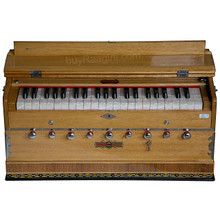 BINA Sangeet Harmonium, Teak Color, 2 Reeds, 3.5 Octaves, 9 Stops, Coupler, Multifold Bellows - (BR-BJB)