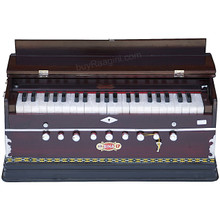 BINA™ Harmonium NO. 17 B, 2 Reeds, 3 1/2 Octaves, 9 Stops, Coupler, Multifold Bellows, Rosewood Color - (BR-AIG)