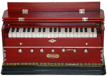 BINA NO. 11 Harmonium, 2 Reeds, 3 1/4 Octaves, 7 Stops, Coupler, Multifold Bellows Rosewood Color
