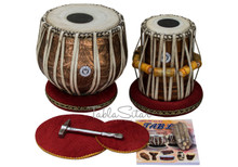 LALI & SONS Pro Designer Tabla Drum Set, 3.5KG Copper Bayan, Finest Dayan, Book, Hammer, Cushions & Cover - (BR-CJH)