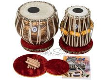 LALI & SONS Concert Goddess Saraswati  Tabla Drum Set, 4KG Copper Bayan, Finest Dayan, Book, Hammer, Cushions & Cover  (BR-CJI)