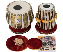 LALI & SONS Pro Ganesha Kalash Designer Brass Tabla Set, 3.5 Kg Lacquer Finish Brass Bayan, Finest Sheesham Dayan, Book, Bag, Hammer - (BR-BHE)