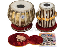 Lali & Sons Pro Ganesha Gulab Designer Brass Tabla Set, 3.5 Kg Lacquer Finish Brass Bayan, Finest Sheesham Dayan, Bag, Book, Hammer - (BR-BHD)