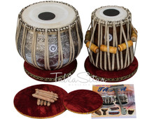 LALI & SONS Pro Ganesha Chrome Tabla Set, 3.5 Kg Ganesha Designer Chrome Brass Bayan, Finest Sheesham Dayan, Bag, Book, Hammer - (BR-BHC)