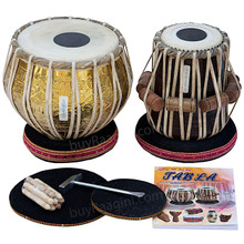 MAHARAJA Pro Golden Brass Tabla Set, 3.5 Kg Brass Bayan, Finest Dayan, Padded Bag, Book, Hammer - (BR-BHB)