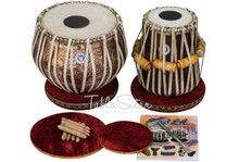 LALI & SONS Pro Flower Design Tabla Set 3.5 Kg Copper Bayan, Finest Sheesham Dayan, Bag, Book, Hammer - (BR - BHJ)