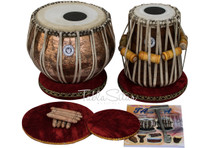 LALI & SONS Pro Ganesha Tabla Set, 3.5 Kg Golden Ganesh Copper Bayan, Finest Sheesham Dayan, Comes, Bag, Book, Hammer - (BR - BGI)
