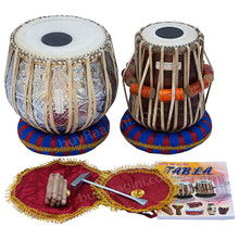 MAHARAJA Floral Chrome Designer Tabla Set, 3 Kg Copper Bayan, Finest Dayan With Bag, Book, Hammer - (BR-BEA)