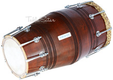 MAHARAJA Special Gajra Dholak (Dholki), Mango Wood With Tuning Spanner, Bag  (BR-BGA)