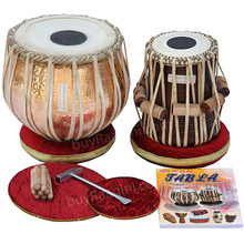MAHARAJA Concert Lacquer Polish Copper Tabla Drum Set, 5.5 Kg Copper Bayan, Finest Dayan, Padded Bag, Book, Hammer, Cushions & Cover - (BR-BJJ)
