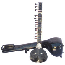 MAHARAJA Black Sitar - Half Decorated - Kharaj Pancham - Single Tumba With Fiber Trolley - (BR-AID)