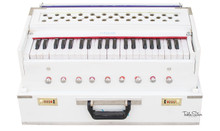MAHARAJA Harmonium No. 5800wh - Folding Safri, 9 Stop, White Color, A440, 42 Keys,  Coupler, Bag & Book - (BR-AHG)