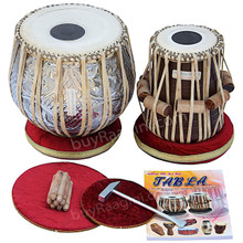 MAHARAJA Concert Designer Copper Tabla Drum Set, 4.5 Kg Copper Bayan, Finest Dayan, Padded Bag, Book, Hammer, Cushions & Cover - (BR-FI)