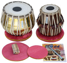 MAHARAJA Golden Tabla Set, 3 Kg Brass Bayan, Finest Dayan, Book, Hammer, Cushions - (BR-CH)