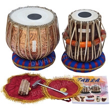 MAHARAJA Floral Design Tabla Drum Set, 3KG Copper Bayan, Finest Dayan, Book, Hammer, Cushions & Cover, Gig Bag - (BR-EB)