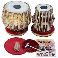 MAHARAJA Pro Floral Design Tabla Drum Set, 3.5 Kg Brass Bayan, Finest Dayan, Book, Hammer, Cushions & Cover, Bag - (BR-FG)