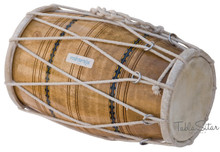 Dholak/Dholki, Mango Wood, Rope-tuned, Natural-Color