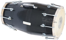 MAHARAJA Black Dholak (Dholki), Mango Wood, Bolt-tuned, With Tuning Spanner, Bag - (BR-FJ)