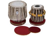 LALI & SONS Brass Dhama Jori - Floral Brass Dhama - Sheesham Wood Dayan - Tabla -  (BR-EBG)