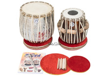 LALI & SONS Khanda Design Dhama Jori - Brass Dhama - Sheesham Wood Dayan - Tabla (BR-FDE)