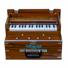 MAHARAJA Harmonium, Kirtan Harmonium, Portable In-Flight Edition, 9 Stop, Natural Color, A440, 32 Keys, Coupler, Model KH2