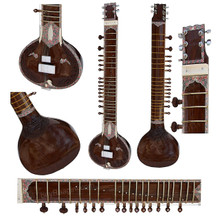 BAWABROS Electric Sitar, Single Flat Tumba, Kharaj Pancham, Dark Natural Color (BR-DJE)