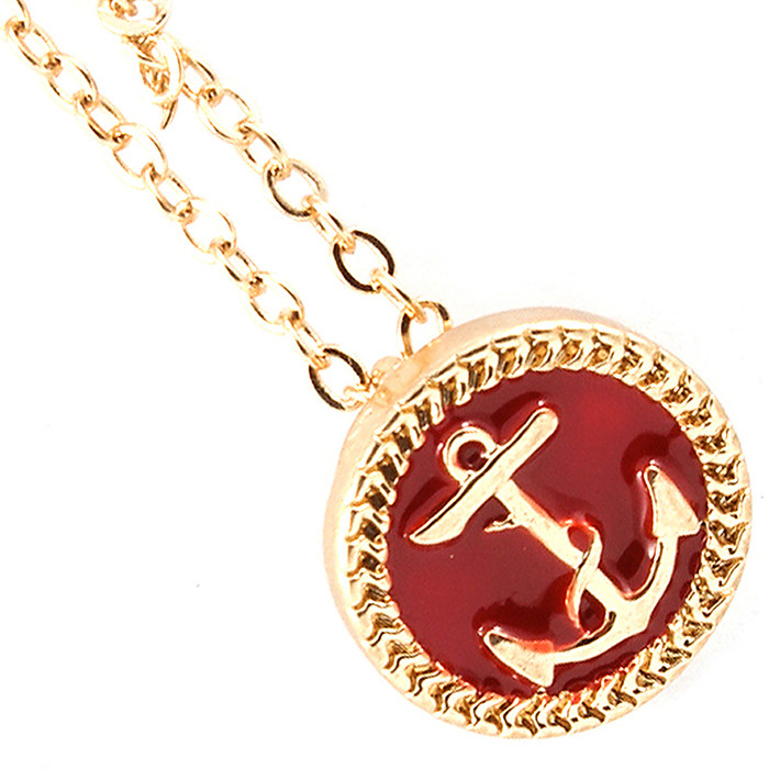 red enamel anchor necklace
