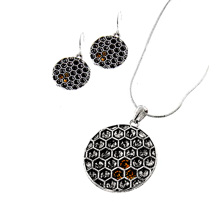 silver bee and honeycomb necklace set with golden crystal honey