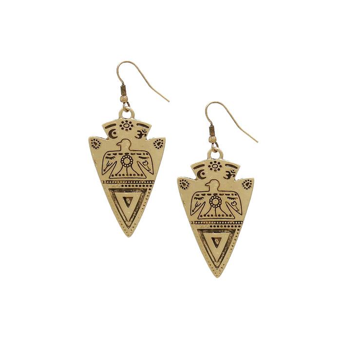 antiqued gold engraved arrowhead drop earrings