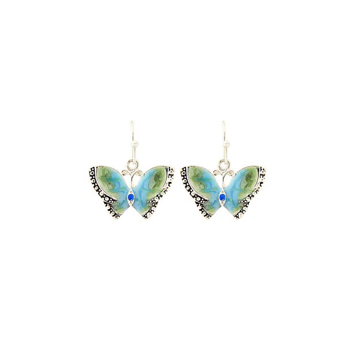 blue-green enameled butterfly earrings