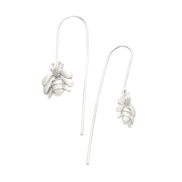 matte silver bee thread-thru drop earrings