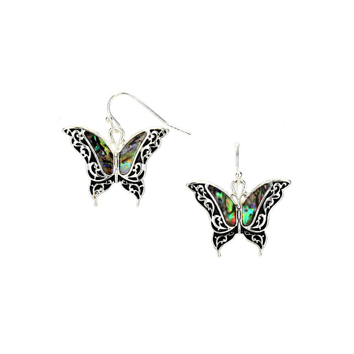 silver filigree butterfly drop earrings with abalone inlay