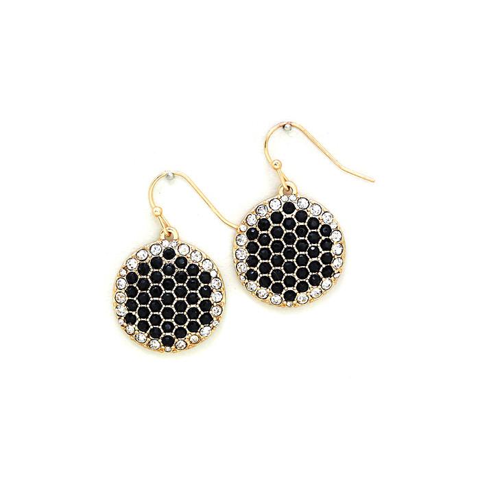 bejeweled honeycomb drop earrings